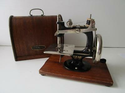 Vintage Japanese Lead Miniature ( Toy ) Sewing Machine & Bentwood wooden Cover