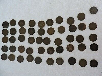 1800's Old Indian Head pennies roll 50 coins   R15