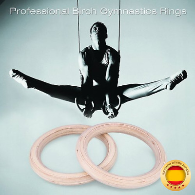 Wood Gymnastics Rings, Fitness Exercise Gym Rings with Durable Buckles and Stra