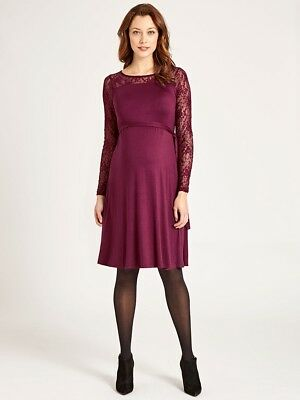 34d081107616e New JoJo Maman Bebe Maternity, Red Wine Long Sleeve Lace Swing Dress Small  S 2