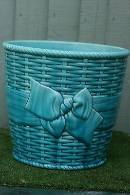 SUPERB 19thC MINTON'S MAJOLICA BASKET WEAVE JARDINIERE WITH LARGE BOW c1890s