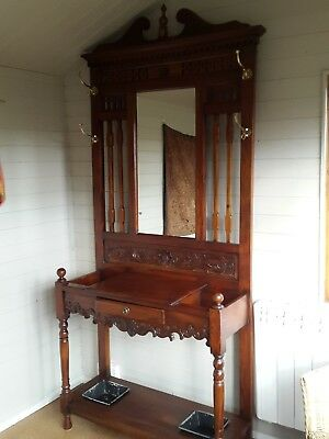 Victorian Hall/Coat/umbrella Stand. Superb condition with mirror and key drawer.