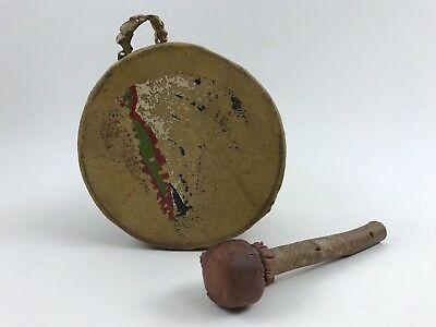 Vintage Native American Indian Hide Wood Drum Painted Arrow Chief Pow Wow