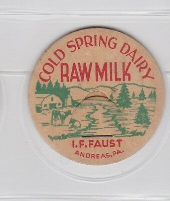 Cold Spring Dairy-I.F. Faust milk cap-Andreas, Pennsylvania