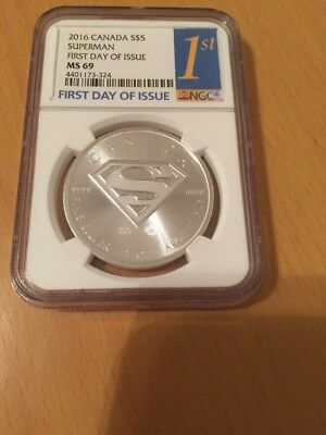 2016 Canadian Superman Silver Coin NGC MS69 FDOI