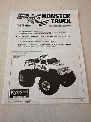 Kyosho USA-1 Electric Manual Complete Pages - Hard to find - Rare