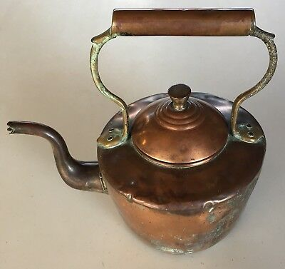 Vintage Copper Kettle With Copper Handle Great Decorator Piece Old Patina