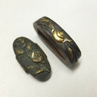 F998: REAL old Japanese copper FUCHI and KASHIRA for SAMURAI sword handle 1