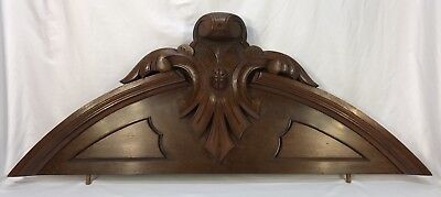 "Antique French Carved Walnut Wood Crest Pediment Plaque 45"" 115 Cm"