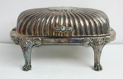 Vintage Silver Plated Footed Lion Head and Claw Roll Top Butter Dish