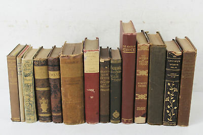 Lot of 14 Antique Brown Hardcover Various Shelf Display Books