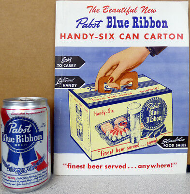 1948 PABST Blue Ribbon Beer Handy-Six Can Carton Advertising Brochure Milw WI