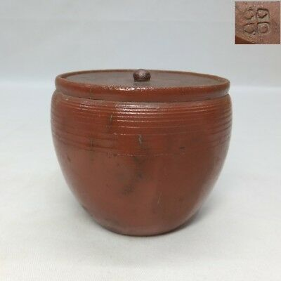 G041: Japanese OLD BIZEN pottery covered pot with appropriate good tone