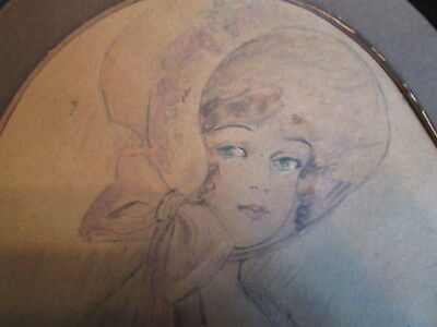 Vintage Old Antique Original Sketching of Lady in Bonnet Metal Frame not signed