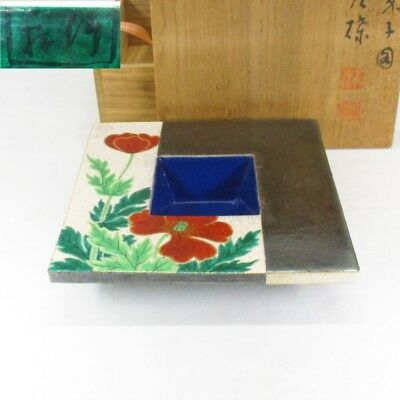 G021: Japanese beautiful pottery ware ashtray by famous Chikken Miura with box