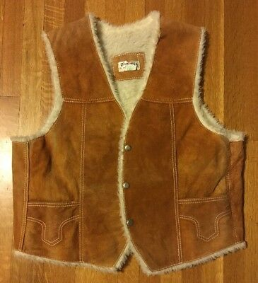 Vintage Leather Vest with Faux Shearling Lining Men's 44 Western Ranch Work