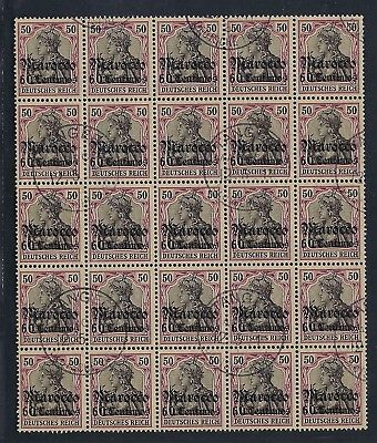 1906-11 Germany Offices in Morocco Scott 40 block/25 (1/4 sheet) used expertized
