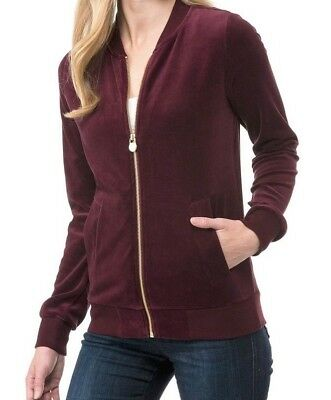 Brand New Michael Kors Velour Long Sleeve Zip Up Bomber Jacket Size Medium