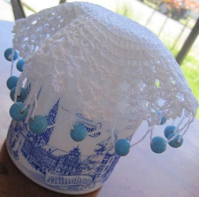 Vintage Hand Crochet 'JUG COVER' in White with Blue Beads 'NEVER USED'