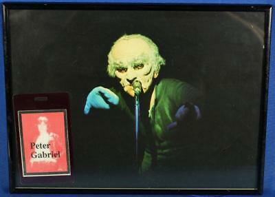 """Framed Peter Gabriel Picture & Backstage Pass Laminate 12"""" x 9"""""""