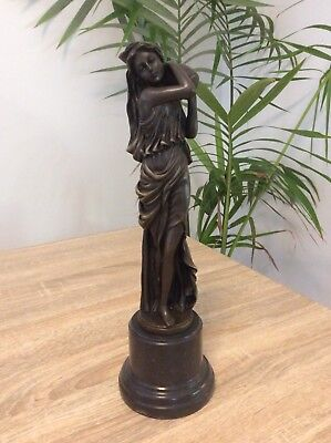 Large Bronze Figure Of A Girl Carrying A Water Vessel. Signed Milo 13 Inches
