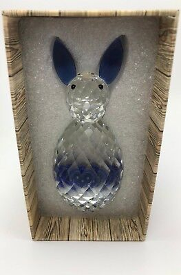 Oleg Cassini Crystal Collectible Rabbit Clear With Blue Ears & Tail 3931 (New)