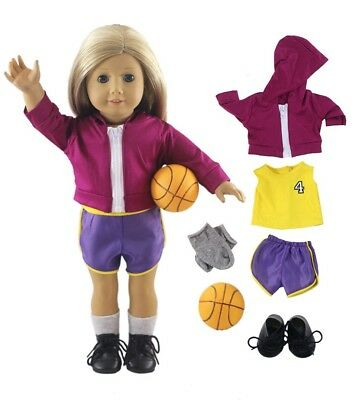 Lot 6 PCS Fashion High Quality Basketball Suit Outfit for 18 Inch American Girl