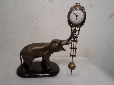 Brass & Wooden Mystery Elephant Swinger Clock--The Whole Clock Swings-Mechanical