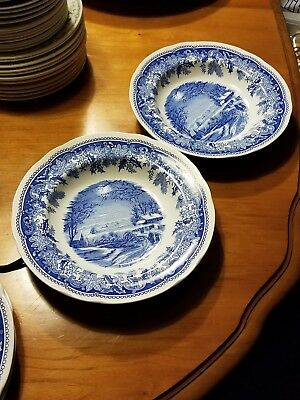 """TWO Spode """"Winter's Eve 9"""" blue and white rimmed soup bowls."""