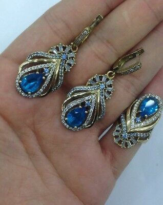 925 Silver Handmade Jewelry Ladie's London Blue Topaz Stone Earring & Ring Set