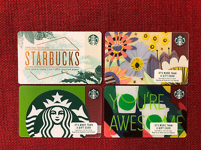 4 New Starbucks 2018 Gift Cards Lot Recycled Paper Spring Siren You're Awesome