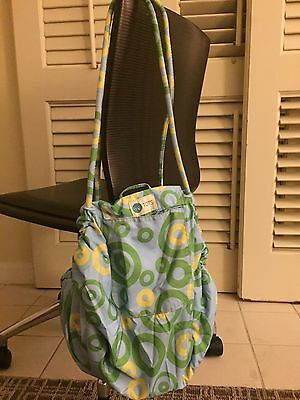 $70 Chic Tots Blanket Bag Cozy Blanket Bag Green Yellow Blue