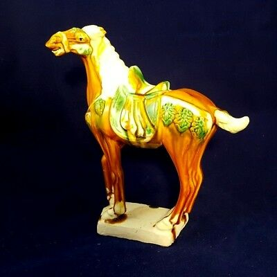 Hand Decorated Ceramic Tang Inspired Horse - In Excellent Condition