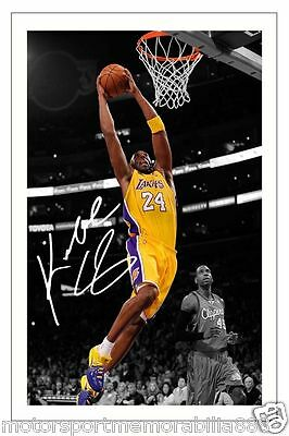 KOBE BRYANT LA LAKERS SIGNED 6x4 PHOTO PRINT BASKETBALL AUTOGRAPH FAST POSTAGE