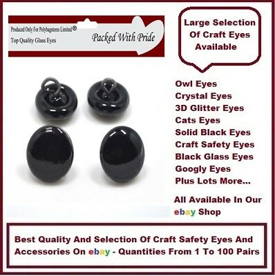 3 PAIRS of 12mm - GLASS DOME EYES with METAL LOOPS Bear Making Soft Toy Doll