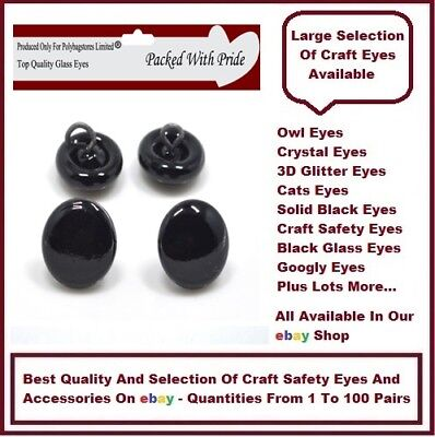 4 PAIRS of 12mm - GLASS DOME EYES with METAL LOOPS Bear Making Soft Toy Doll