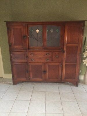 Late 1800s Timber Kitchen Dresser with Original Lead Light, Meat Safe & More