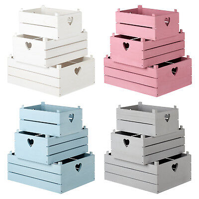 Hartleys Set Of 3 Wooden Slat Shabby Chic/Vintage Heart Storage Crates/Boxes