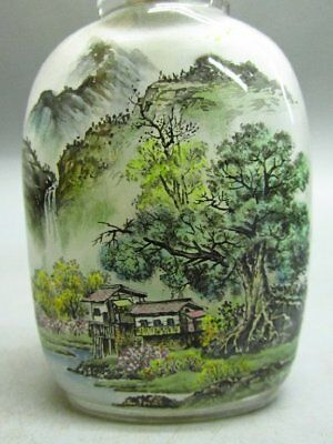 Chinese Exquisite Glass Hand Inside-drawing Scenery / Landscape  Snuff Bottle