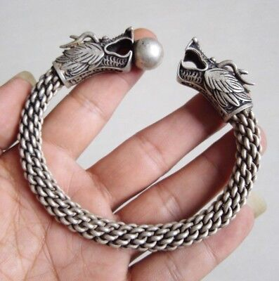 Collectable Miao Silver Carve two dragons playing bead Auspicious Cuff Bracelet