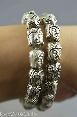 Collectible Old Miao Silver Carved Sakyamuni Bead Exorcism A Pair Luck Bracelet