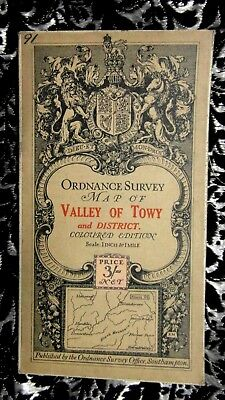 """Antique 1914 Ordnance Survey Map 1"""":1 Valley Of Towy Ellis Martin Coloured Ed"""