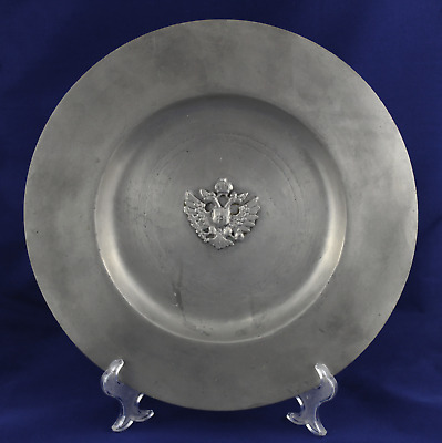 Antique Great Plate Portugal Medieval 95% Pewter VERY RARE Carried out hand 35cm