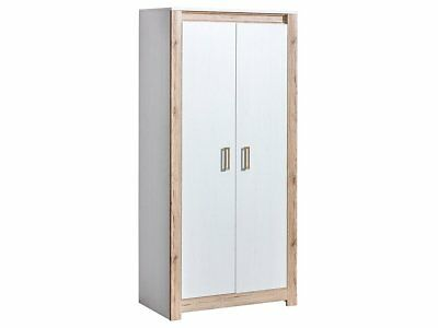 Brand New Modern Bedroom 2 Door Wardrobe ARSEN in White Pine/Oak 90cm