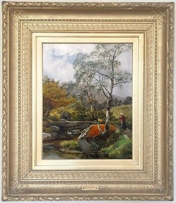 North Wales River Landscape Antique Oil Painting by James Callowhill (1838-1917)