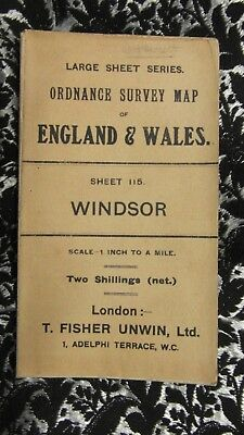 "1911 Large Sheet Ordnance Survey Map Sheet 115 Windsor 1"":1M T. Fisher Unwin Ltd"