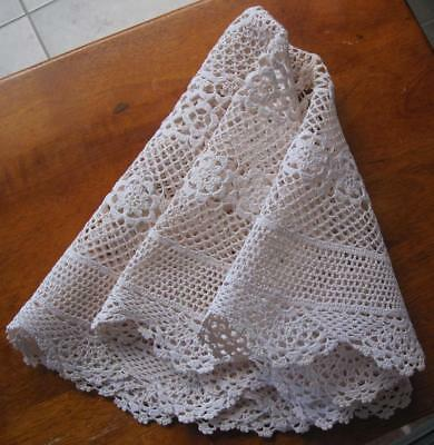 Very Large Vintage Hand Crochet Table Centrepiece in Beige 'Never Used'
