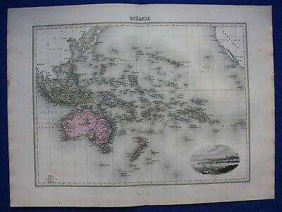Original antique map OCEANIA, AUSTRALIA, NEW ZEALAND, NOUMEA, Migeon, 1891