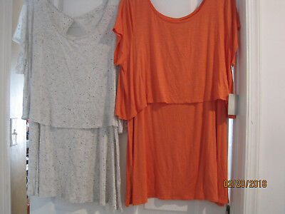 TWO NEW w tags Nursing Top A:Glow Maternity Blouse Popover Shirt Size L Large