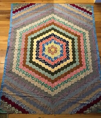 """Vintage Antique Hand Stitched/Sewn Quilt Top 84""""x68"""" Octagon Multicolored"""